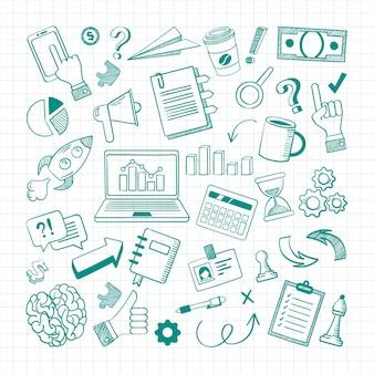 Conjunto de esboço de elementos de negócios desenhado à mão.