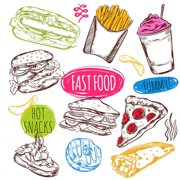 Conjunto de esboço de fast-food