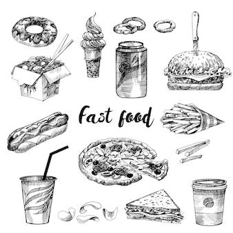 Conjunto de esboço de fast food