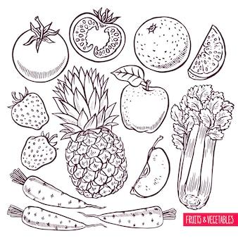 Conjunto de esboço de frutas e vegetais. ilustração desenhada à mão