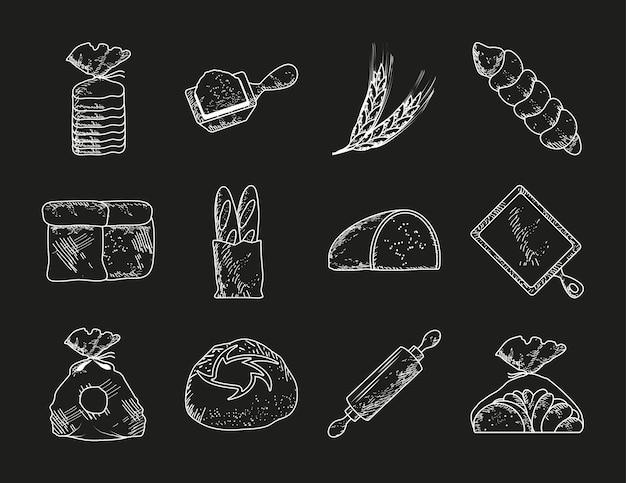 Conjunto de esboço de pão de rolo de pão