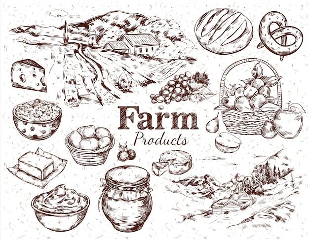 Conjunto de esboço de produtos agrícolas