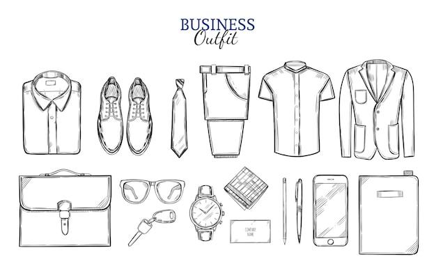 Conjunto de esboço de roupas de negócios