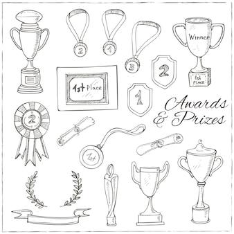 Conjunto de esboço decorativo prêmio com troféu, medalha, prêmio do vencedor, copo de campeão, fita.