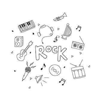 Conjunto de esboço desenhado à mão de ilustração vetorial de música doodle