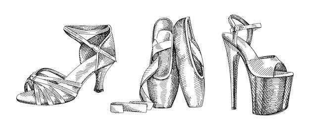 Conjunto de esboço desenhado à mão de sapato de dança. o conjunto consiste em sapatilhas; sandálias de salto alto, sapatos de dança de salão latino