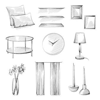 Conjunto de esboço desenhado de mão de elementos de design de interiores.