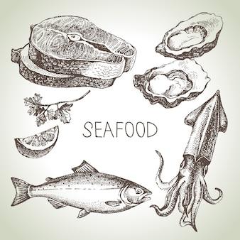 Conjunto de esboço desenhado de mão de frutos do mar. ilustração