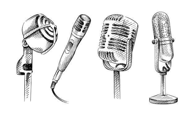 Conjunto de esboço desenhado de mão de microfones.