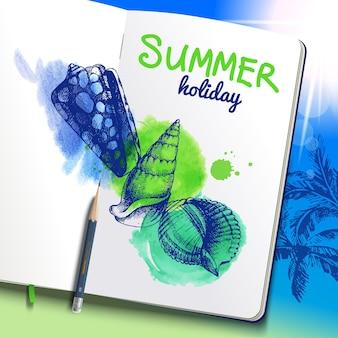 Conjunto de esboço desenhado de mão e conchas em aquarela. papel de caderno em fundo de praia de férias. ilustração vetorial