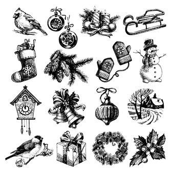 Conjunto de esboço desenhado de mão feliz natal e feliz ano novo. ilustração vetorial