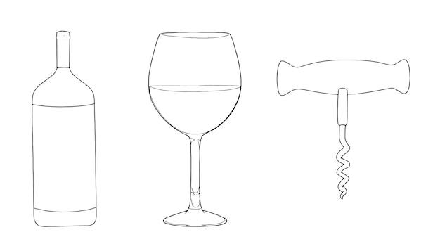Conjunto de esboço linear de saca-rolhas de vidro de garrafa de vinho com álcool doodle