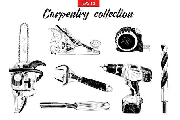 Conjunto de esboço mão desenhada de ferramentas de carpintaria