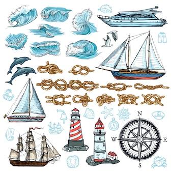 Conjunto de esboço marinho