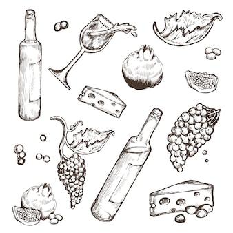 Conjunto de esboços de bebidas e comida em um branco.