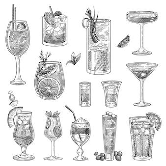 Conjunto de esboços de copos de coquetel