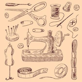Conjunto de esboços de costura de ícones