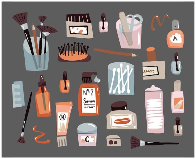 Conjunto de esboços de doodle para cuidados com o rosto acessórios de beleza para todos os cuidados do dia creme de lixa para unhas em cotonetes