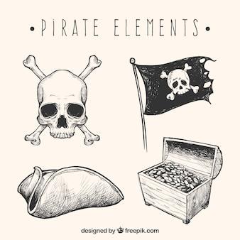 Conjunto de esboços de elementos piratas