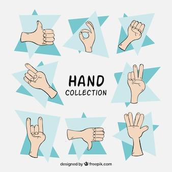Conjunto de esboços de mão com gestos