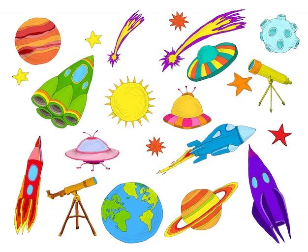 Conjunto de esboços de objetos espaciais coloridos