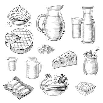 Conjunto de esboços de produtos lácteos