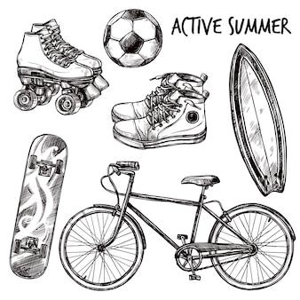 Conjunto de esboços de recreação ativa