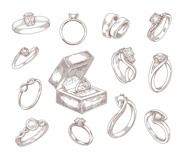 Conjunto de esboços desenhados à mão de anéis de noivado e casamento. anéis de proposta em ouro e prata com diamantes de luxo, joias esmeraldas em estilo vintage gravado. joias, acessórios, conceito de amor