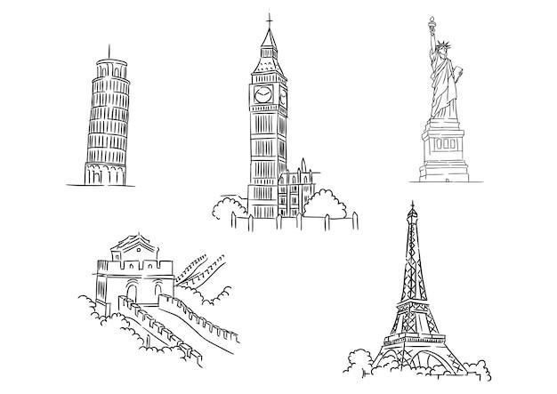 Conjunto de esboços em preto e branco de marcos mundiais famosos, incluindo a torre inclinada de pisa, a torre eiffel, o big ben, a liberdade e a grande muralha