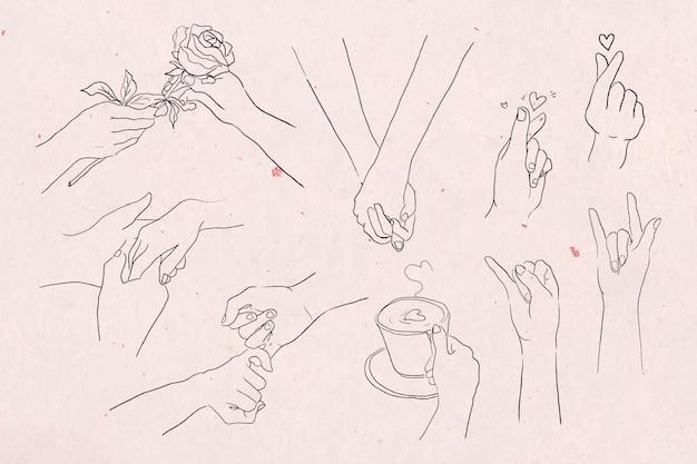 Conjunto de esboços em tons de cinza de gestos com as mãos de namorados e amor