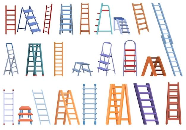 Conjunto de escada de mão. conjunto de escada de mão em desenho animado