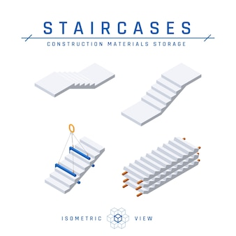 Conjunto de escadas de concreto, vista isométrica.