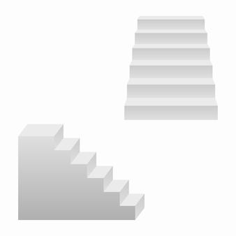 Conjunto de escadas, escadas realistas em 3d. ilustração vetorial.