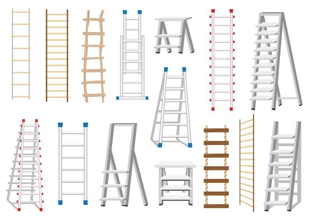 Conjunto de escadas feito de diferentes materiais: madeira e metal