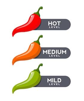 Conjunto de escala de força de pimenta vermelha quente
