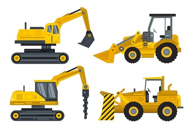 Conjunto de escavadeira de design plano