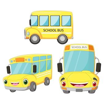 Conjunto de escola feliz ônibus engraçado dos desenhos animados