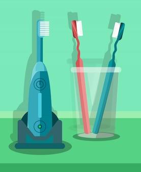 Conjunto de escovas de dentes, kit ilustração
