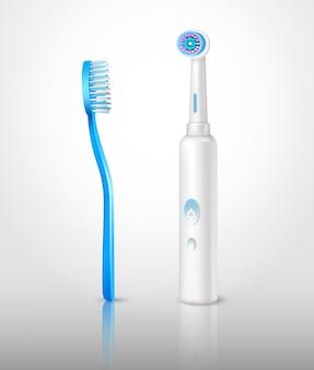 Conjunto de escovas de dentes realista