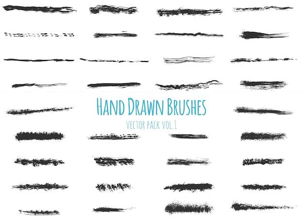 Conjunto de escovas de mão desenhada vetor.