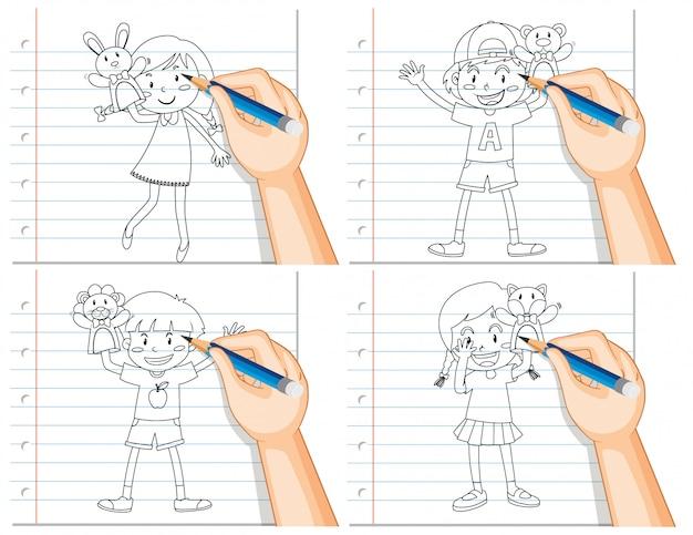 Conjunto de escrita de mão de crianças diferentes, brincando com dooutline