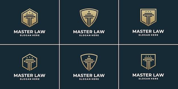 Conjunto de escritório de advocacia de coleção combina pilar e escudo.