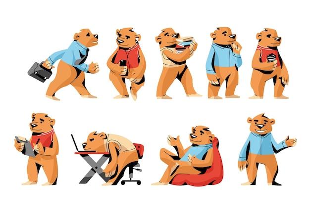 Conjunto de escritório urso pardo, personagem engraçado em diferentes situações do dia a dia