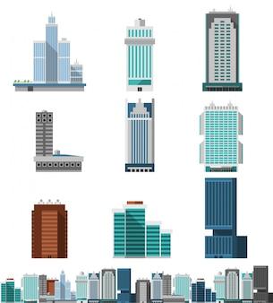 Conjunto de escritórios de arranha-céu