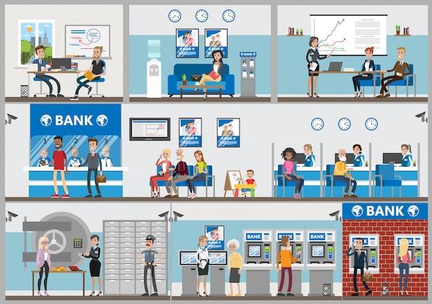 Conjunto de escritórios do banco. funcionários e visitantes. serviço de crédito e poupança.