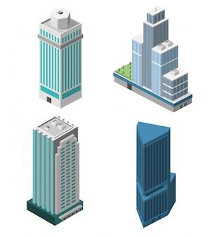 Conjunto de escritórios dos arranha-céus