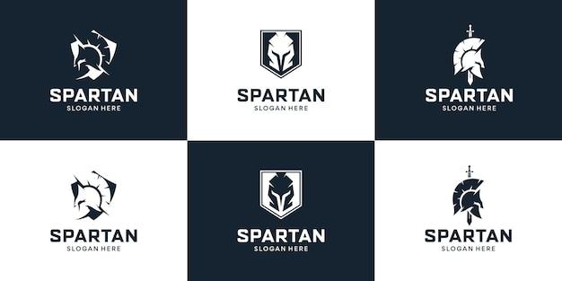 Conjunto de escudo com inspiração no design do logotipo sparta