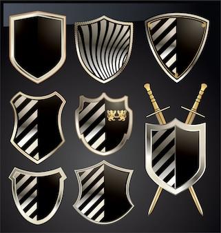 Conjunto de escudo de ouro e cinza