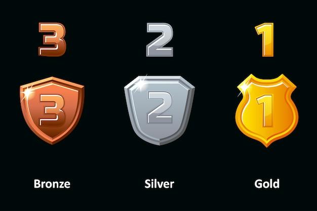 Conjunto de escudo de prata, ouro e bronze. ícones de conquista de prêmios.
