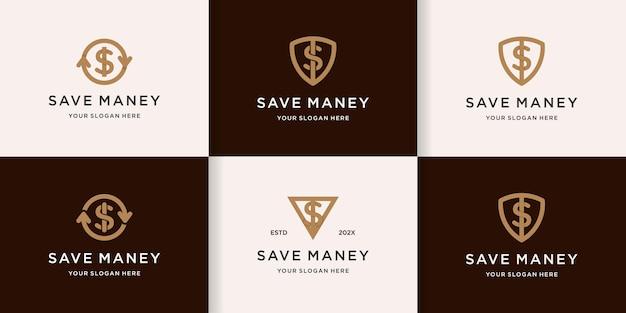 Conjunto de escudo dinheiro logotipo com conceito de linha